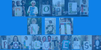 """Pictures of people holding up signs with individual letters, together forming the message """"People not polluters"""""""