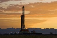 An oil rig in the fields of Wyoming