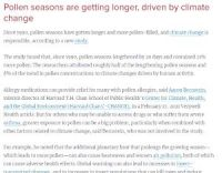 CCR Pollen seasons are getting longer, driven by climate change