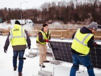 solar-panel-installation on the roof of Global Links
