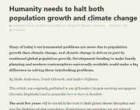 CCR Humanity needs to halt both population growth and climate change