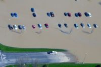 Parked cars in Tipton during the flood of 2013
