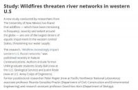 CCR Study: Wildfires threaten river networks in western U.S
