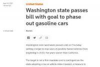 Washington state passes bill with goal to phase out gasoline cars