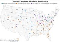 A map shows where wind or solar are the least cost resource and indicates plants where both wind and solar beat coal on cost.