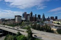 Downtown Freeways are empty of traffic due to spread of coronavirus