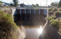 The downstream side of the headgates of the A canal fed by the Upper Klamath