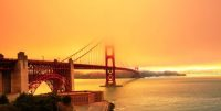 Wildfires cause orange clouds to hover over San Francisco's Golden Gate Bridge