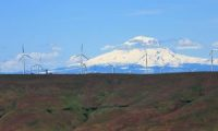Wind turbines,with Mount Adams in the backdrop