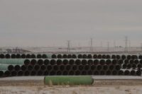 Pipes for Keystone XL pipeline stacked