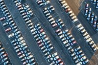 Imported cars parked at Los Angeles Port to be transported to various parts of the country later