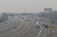 Smoke from California Wildfires upto 200 miles away obscures the view of traffic in Sparks Nev.
