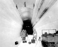 The Camp Century tunnels started as trenches cut into the ice