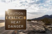 Extreme heat road sign