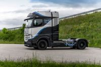 A prototype of Daimler's GenH2 hydrogen-powered truck. Daimler has set a goal of selling trucks powered by hydrogen fuel cells by 2027.