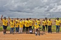 Group photo of Members of Rise St. James taken near the site Formosa plans to build a petrochemical complex in Welcome, LA.