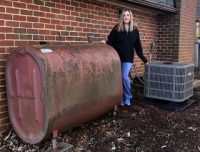 old propane tank and new heat pump