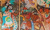 A 1950 fresco of Totonac civilisation by Diego Rivera depicts offerings to the emperor