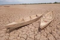 Historic droughts across North and West Africa in 2020 left this lake in central Burkina Faso dry.