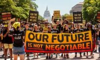 Hundreds of protesters march to the White House calling for climate action, including a Civilian Climate Corps