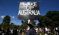 Protesters gather in Brisbane's Botanic Gardens on 21 August to rally against lockdown and Covid vaccinations