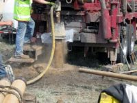 Well core drilling for geothermal heat pump system.