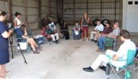 Farmers, officials and press gathered in Laurel, Del. on July 16 to discuss soil conservation practices and the Growing Climate Solutions Act.